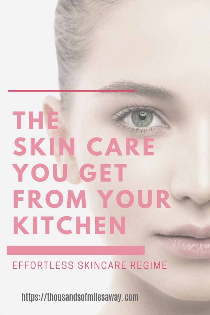 """a face of a beautiful young woman and a title across """"The Skin Care You Get From Your Kitchen"""""""
